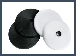 Encryption nylon polyester blended hook and loop velcro hook & loop tape,black and white