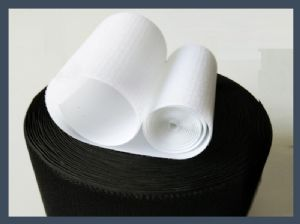 Fashion un-napped loop (short hair) hook and loop velcro tabs, black and white