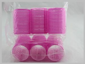 Pink Extra Large Hook And Loop Hair Rollers Round Magic Tape Hair Care