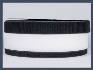 Un-napped Loop (long hair) hook and loop velcro tape roll, black and white
