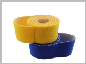 Wide yellow Double Sided hook and loop cable wrap Roll for Cable Management